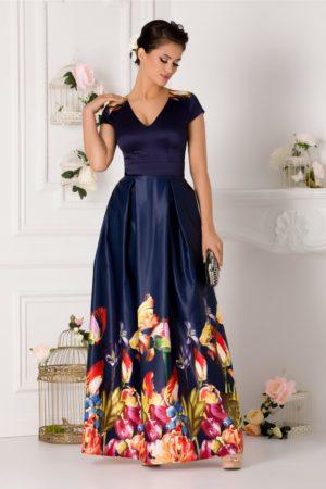Rochie lunga bleumarin din tafta de seara cu imprimeu multicolor Rhona