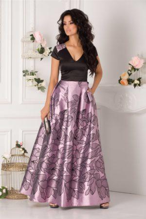 Rochie lunga negru si lila de seara din tafta cu insertii din fir lurex Rhona