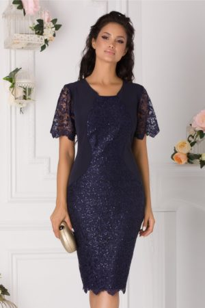 Rochie de seara midi bleumarin din dantela cu paiete Samira pentru femei plinute