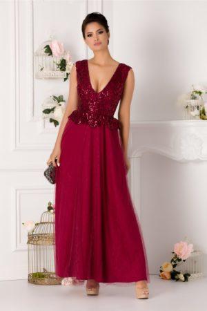 Rochie de seara bordo eleganta cu broderie de paiete si fusta lunga din tull Samira