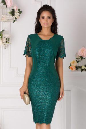 Rochie de seara midi verde din dantela cu paiete Samira pentru femei plinute