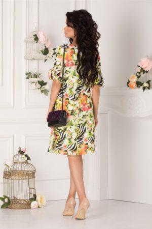 Rochie de vara vaporoasa lejera cu maneci scrute Tonia cu imprimeu exotic vernil