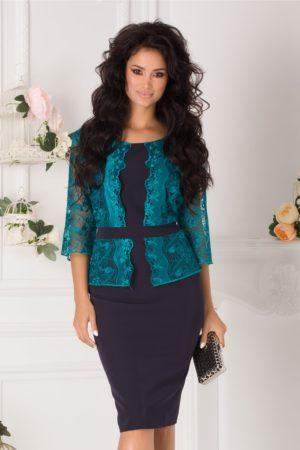 Rochie plus size bleumarin de nunta eleganta accesorizata cu dantela turcoaz Vanity