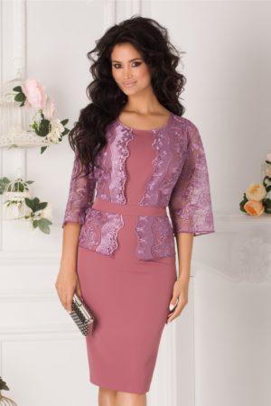 Rochie plus size roz coniac de nunta eleganta accesorizata cu dantela lila Vanity
