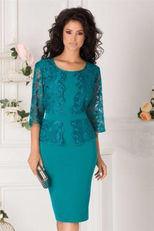 Rochie plus size turcoaz de nunta eleganta accesorizata cu dantela Vanity