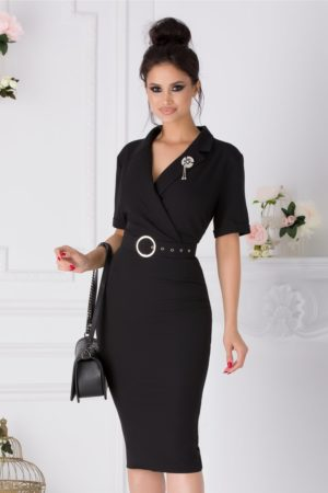 Rochie de toamna neagra office cu decolteu in V petrecut si fusta midi tip creion Vanya