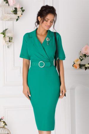 Rochie de toamna verde deschis office cu decolteu in V petrecut si fusta midi tip creion Vanya