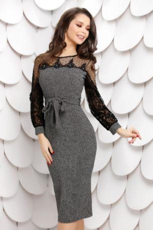 Rochie midi eleganta gri din tricot cu aplicatii de paiete si dantela la maneci Adena
