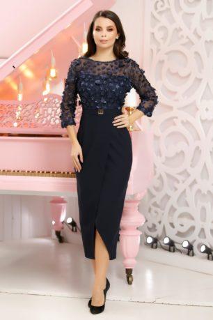 Rochie Akira bleumarin eleganta dreapta cu croi pana sub genunchi
