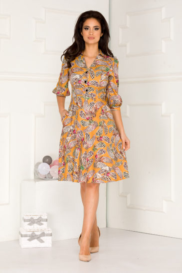 Rochie de zi midi galbena cu imprimeu colorat Almeda