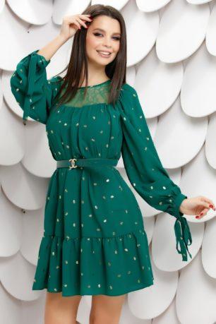 Rochie de ocazie verde eleganta cu decolteu din dantela Becca