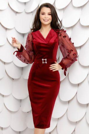 Rochie de seara bordo din catifea cu maneci din tull accesorizate cu strass-uri 3D Brenna