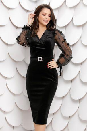 Rochie de seara neagra din catifea cu maneci din tull accesorizate cu strass-uri 3D Brenna