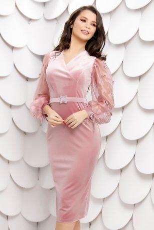 Rochie de seara roz din catifea cu maneci din tull accesorizate cu strass-uri 3D Brenna
