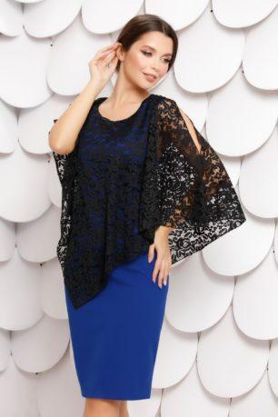 Rochie eleganta albastra cu dantela neagra si maneci tip fluture Brietta