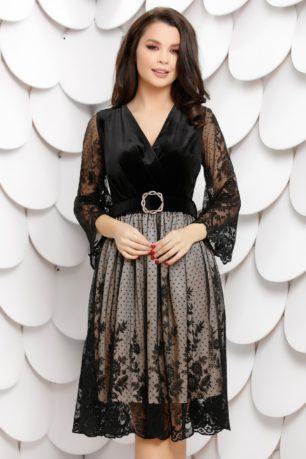Rochie de seara din catifea neagra cu jupa crem accesorizata cu dantela fina Brigitte