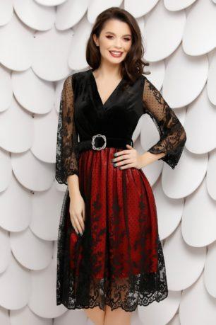 Rochie de seara din catifea neagra cu jupa rosie accesorizata cu dantela fina Brigitte