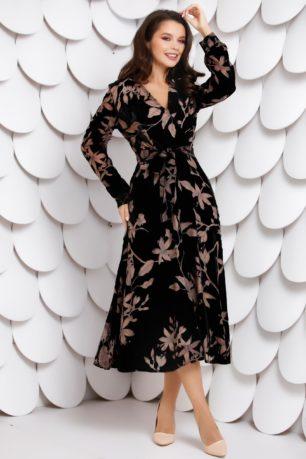 Rochie neagra de primavara cu imprimeuri florale Camilla