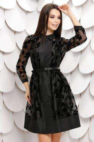 Rochie de seara neagra din tull sidefat cu buline de catifea Carmenta