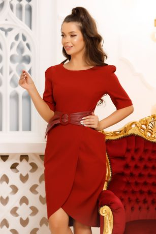 Rochie de ocazie bordo eleganta cu maneci scurte si fusta petrecuta Carola