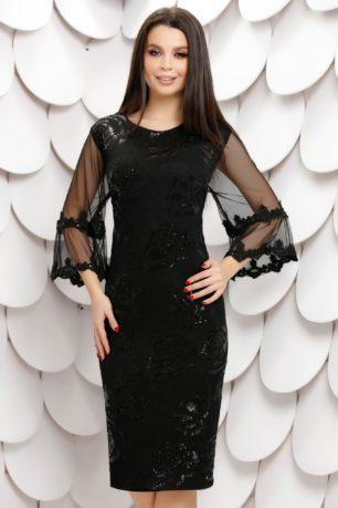 Rochie eleganta neagra din dantela cu paiete si maneci evazate din tull Casia