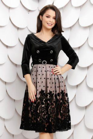 Rochie de nunta din catifea neagra cu roz si insertii de dantela diafana Celine