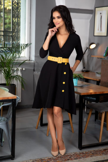 Rochie de ocazie neagra eleganta cu decolteu petrecut si curea in talie Charlotte