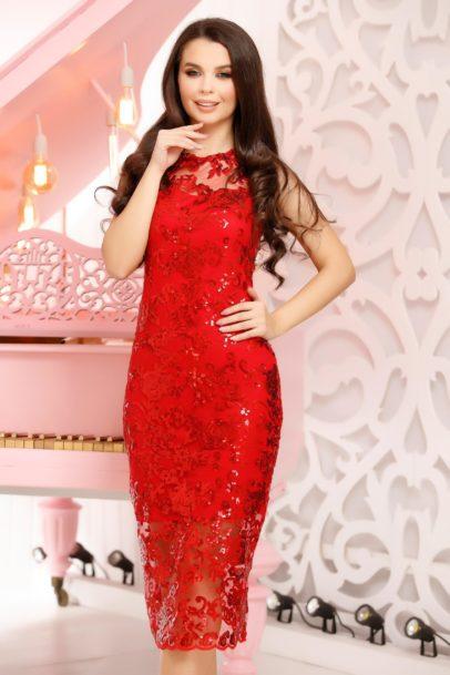 Rochie rosie midi eleganta de seara din dantela cu paiete stralucitoare Chione