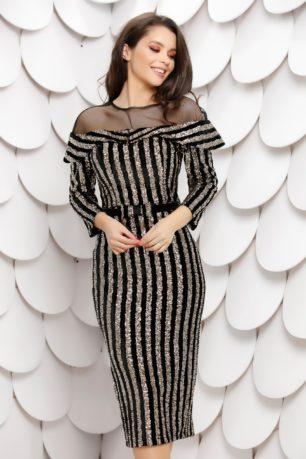 Rochie eleganta de seara din catifea neagra cu paiete stralucitoare si maneci lungi Chira