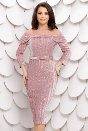Rochie eleganta de seara din catifea roz cu paiete stralucitoare si maneci lungi Chira