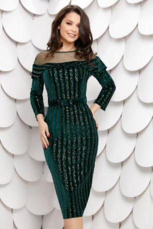 Rochie eleganta de seara din catifea verde cu paiete stralucitoare si maneci lungi Chira