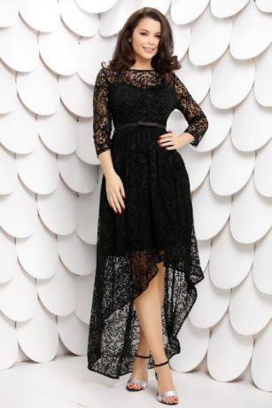 Rochie de ocazie neagra din dantela catifelata cu insertii stralucitoare Chrissy