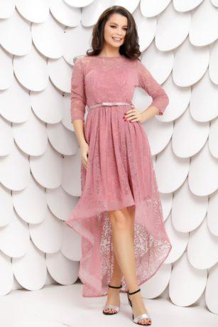 Rochie de ocazie roz pudra din dantela catifelata cu insertii stralucitoare Chrissy