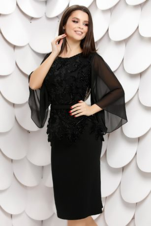 Rochie de seara neagra din stofa cu bluza din dantela catifelata Claire