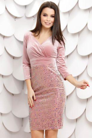 Rochie de seara roz din paiete cu reflexii si bust de catifea cu decolteu in V Claudia