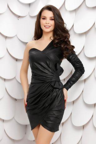 Rochie sexy neagra din lurex accesorizata cu fundita maxi pe talie Clio