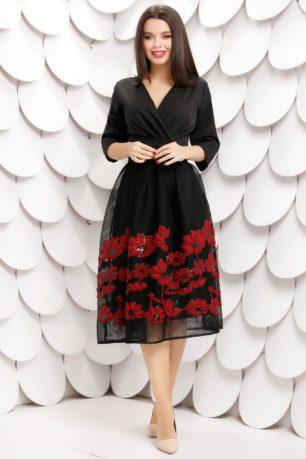 Rochie de ocazie neagra flori rosii si decolteu petrecut in V si fusta brodata Daiana
