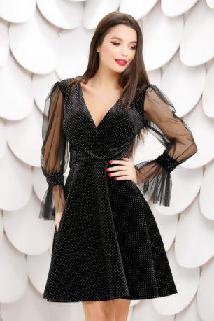 Rochie de seara neagra din catifea cu maneci din tull diafan Diamond