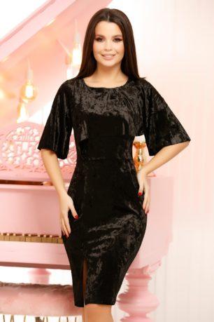 Rochie de catifea neagra eleganta mulata cu crapatura pe picior Emery
