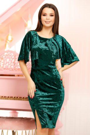 Rochie de catifea verde smarald eleganta mulata cu crapatura pe picior Emery