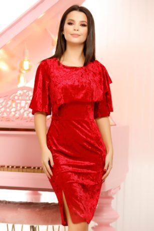 Rochie de catifea rosie eleganta mulata cu crapatura pe picior Emery