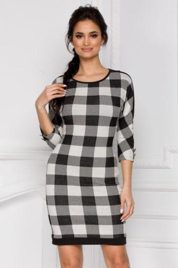 Rochie de zi din tricotaj cu fir lame Esteffa Bicolora