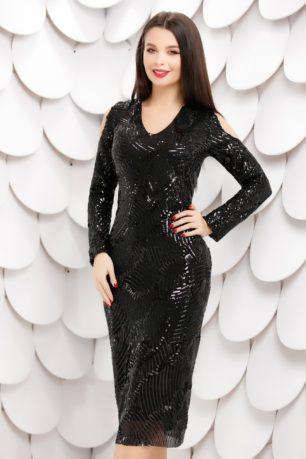 Rochie Estera de seara eleganta neagra din paiete cu maneci lungi