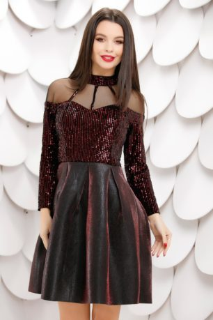 Rochie de ocazie cu paiete bordo si fusta neagra din neopren cu reflexii Federica