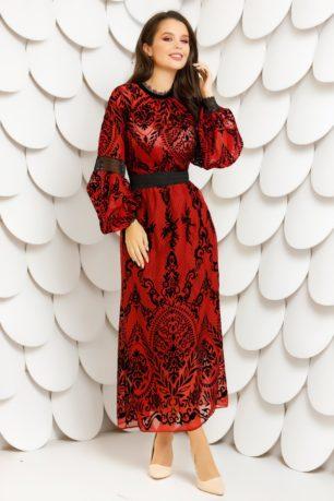 Rochie rosie lunga din dantela brodata cu catifea neagra Francesca