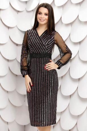 Rochie de seara neagra eleganta midi cu paiete lila Gilona