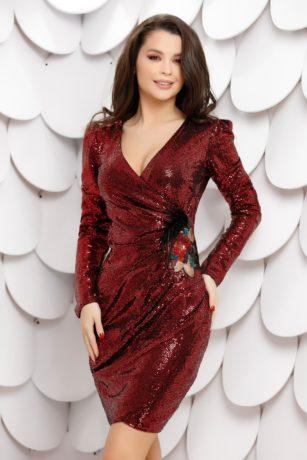 Rochie sexy bordo din paiete cu aplicatie decorativa si maneci lungi Giovana