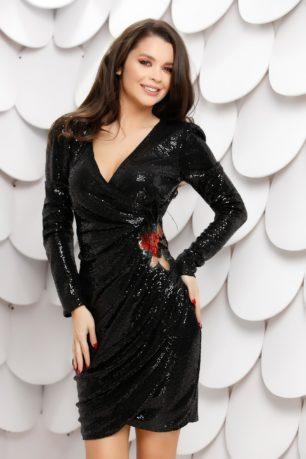 Rochie sexy neagra din paiete cu aplicatie decorativa si maneci lungi Giovana