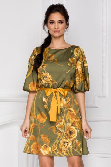 Rochie verde eleganta cu imprimeu floral pentru primavara Gladys