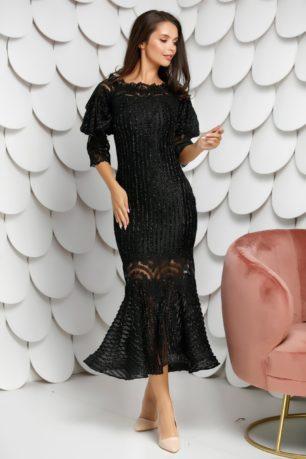 Rochie midi neagra eleganta cu maneci trei sferturi si aplicatii stralucitoare Grazia